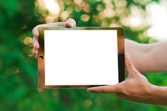 与空间的触感衰减器在屏幕上的文本的 免版税库存照片
