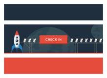 与空间题材的横幅 金属桥梁的小滑稽的宇航员装载了入太空飞船 库存图片
