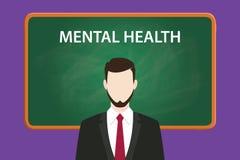 与穿着在绿色粉笔板和白色文本前面的一个有胡子的人的精神健康例证黑衣服 库存照片
