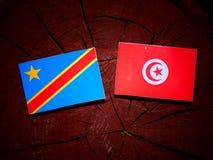 与突尼斯旗子的刚果民主共和国旗子在tr 免版税库存图片