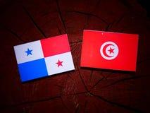 与突尼斯旗子的巴拿马旗子在被隔绝的树桩 库存照片