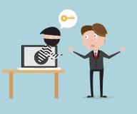 与窃贼的商人从膝上型计算机网络安全概念 库存例证
