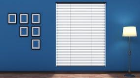 与窗帘的蓝色空的内部 库存照片