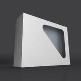 与窗玻璃的空白的纸盒箱子产品 免版税库存照片