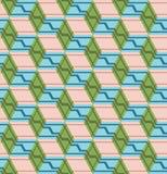 与立方体的抽象无缝的样式 容量幻觉  库存例证