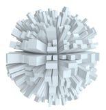 与立方体的抽象白色球形 库存例证