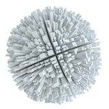 与立方体的抽象白色球形 皇族释放例证