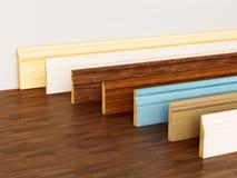 与站立在硬木的各种各样的外形的护壁板浮出水面 3d例证 库存例证