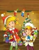 与站立近的圣诞树的圣诞节矮子的动画片场面 免版税库存图片