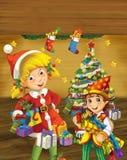 与站立近的圣诞树的圣诞节矮子的动画片场面 库存照片
