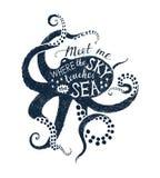 与章鱼剪影和字法的海报 向量例证