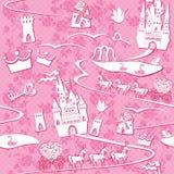 与童话土地-城堡, la的无缝的样式 免版税库存照片