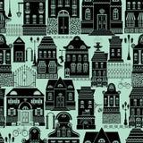 与童话房子,灯笼,树的无缝的样式 免版税库存照片