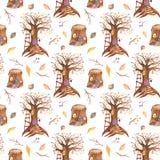与童话树和树桩的水彩无缝的样式 库存例证