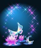 与童话蝴蝶的不可思议的百合 免版税库存图片