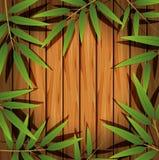 与竹叶子的边界模板 库存例证