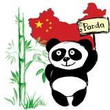与竹和中国旗子的小的逗人喜爱的熊猫 库存图片