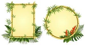 与竹子和花的两块边界模板 库存例证