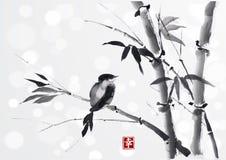 与竹子和鸟的卡片在白色背景 免版税库存照片