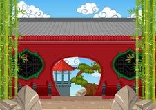 与竹子的中国大厦在庭院里 库存例证