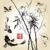 与竹子的卡片在鸟和鱼 免版税库存照片