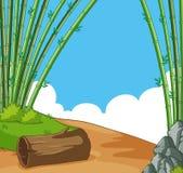 与竹子的场面在小山 向量例证