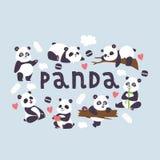与竹子的熊猫传染媒介斗士中国熊在使用或睡觉例证背景大熊猫吃的爱 库存例证