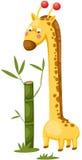 与竹子的逗人喜爱的长颈鹿 向量例证