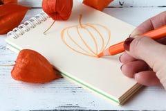 与笔和写生簿的手图画 秋叶 库存图片