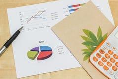 与笔和计算器的Buiness图表 免版税库存图片