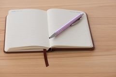 与笔的空的小册子 免版税库存照片