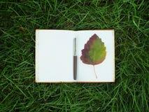与笔的笔记薄在绿草 免版税库存照片