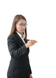 与笔的年轻成功的女商人文字 免版税图库摄影