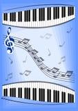 与笔记、琴键和高音谱号的音乐传单 免版税库存照片