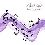 与笔记和高音谱号的音乐背景在抽象紫色梯级 库存照片