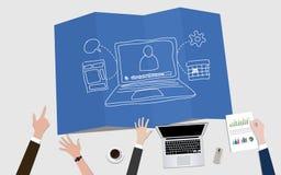 与笔记本和目标成就的Webinar录影营销概念例证 库存例证