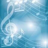 与笔记的抽象蓝色音乐背景 免版税库存图片