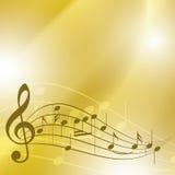 与笔记的淡黄色音乐背景 库存照片