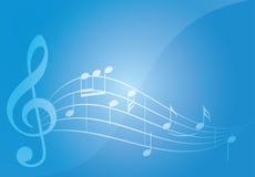 与笔记的蓝色音乐背景 免版税库存图片