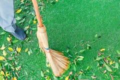 与笤帚一起使用清扫从下落的叶子的草坪 免版税库存照片