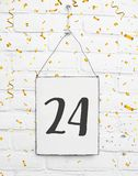 与第二十四的24张岁生日聚会卡片与是 库存图片