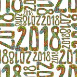 与第的新年逗人喜爱的乱画手拉的标志动画片样式2018年在寒假背景 库存照片