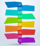 与第1到10的抽象五颜六色的形状 免版税库存照片