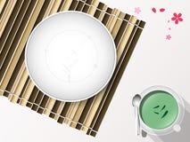 与筷子的空的白色板材集合在竹盖子 向量 免版税库存图片