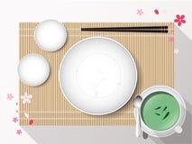 与筷子的空的白色板材集合在竹盖子 向量 库存照片
