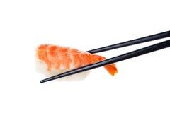 与筷子的Nigiri 免版税库存照片