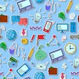 与简单的象在收入题目和信息技术,在一蓝色backgrou的色的贴纸的无缝的例证 免版税图库摄影