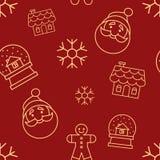 与简单的黄色象的圣诞节无缝的红色样式 圣诞老人朝向,姜人,玻璃雪球、雪花和华而不实的屋 库存照片