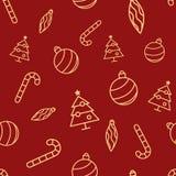 与简单的黄色象的圣诞节无缝的红色样式 装饰球、装饰品冰柱、xmas树和棒棒糖 库存图片