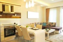 与简单的minimalistic现代室内设计的美丽的太阳边公寓,开放学制厨房客厅在阳光下 库存照片